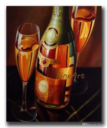 Pintura abstrata do vinho on-line-Pintados à mão copo de vinho pintura a óleo vinho arte da lona arte da parede moderna casa pintura a óleo arte abstrata decoração do escritório