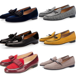 Wholesale Dinner Shoes - Tangerine 3 Cocoa Belgian Loafers Silk Bow Men Patent Polished Leather Shoes Luxurious Flats Male Suede Wedding Banquet Dinner Shoes