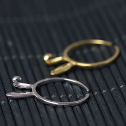 Wholesale Long Sterling Rings - Original adjustable charm Jewelry fashion sterling silver 925 ring European and American simple golden long ears of lovely rabbits wholesale