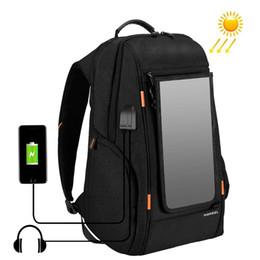 Poignées pour ordinateur portable en Ligne-Sac extérieur d'appareil-photo de panneau solaire de puissance Sac multifonctionnel d'ordinateur portable de sac à dos respirable multifonctionnel avec le port externe de remplissage d'USB de poignée