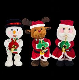 Canada De Noël Électrique En Peluche Jouets AA Batterie Père Noël Elk Bonhomme De Neige Chapeau Arbre Jouant Sax Danse Anneau Bébé Garçons Filles Designer Enfants Jouets Offre