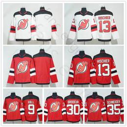 9fb907492 New Jersey Devils Hockey Jerseys 9 Taylor Hall 13 Nico Hischier 30 Martin  Brodeur 35 Cory Schneider Red White Man Women Kids Jersey