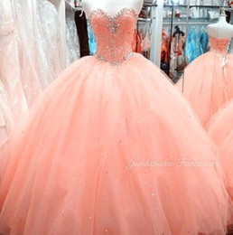 Wholesale Peach Organza Dresses - 2018 Amazing Rhinestone Crystals Peach Ball Gown Quinceanera Dresses Sweetheart Floor Length Sleeveless Sweet 16 Ruffles Prom Gown BA7065