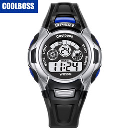 Wholesale Boys Lighting Watch - COOLBOSS 0911 mens outdoor sport led digital watch big students kids children boys electronic 7 colors lights Multifunction watches