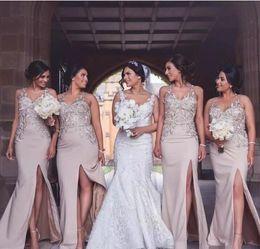 Argentina Vestidos de dama de honor de sirena sexy plus tamaño 2018 Top de encaje frontal de Split piso de madera por encargo estilo largo Invitados de dama de honor de boda Suministro