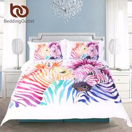 Ropa de cama de cebra impresa online-BeddingOutlet Safari Zebra Juego de cama Juego de funda nórdica impresa Juego de cama de animal de color Funda de almohada Twin Full Queen King Inicio