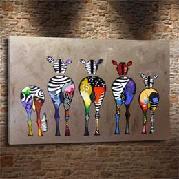Zebra wanddekor online-ABSTRAKTE BUNTE ZEBRA, 1 Stück Leinwand Wandkunst Ölgemälde Wohnkultur (Ungerahmt / Gerahmt)