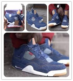 Wholesale Christmas Sail - 4 IV Denim jeans 4s NRG men Basketball shoes Jeans DENIM DENIM-SAIL-GAME RED VOILE ROUGE JEU AO2571-401 Sports Athletic Sneakers with box