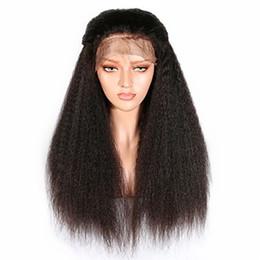 Pelucas de mirada rizada online-Moda negro largo Kinky recto pelucas delanteras del cordón sintético para las mujeres de densidad completa resistente al calor fibra Natural Look pelucas con pelo