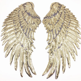 Wholesale Feathered Clothing - Angel Wing Feather Sequin Embroidered Fabric Large Patch Applique Stick Clothes Bag Decorate Accessories DIY Gold Silver Iron