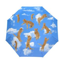 Wholesale Cats Umbrellas - Sky Cloud Cat Anti UV Umbrellas Automatic 3 Folding Durable Compact Sun Umbrella Children Portable Easy Carrying Rain Umbrella