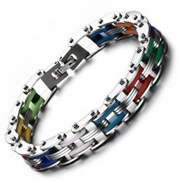 Wholesale rainbow rubber bracelets - Heyrock Rainbow Color Silicone Rubber Stainless Steel Bracelet 20CM Unisex Link Chain Bangles