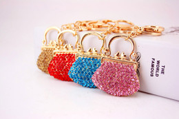 Wholesale Trendy Wholesale Handbags - Delicate full rhinestone handbag key chain 4 colors bag shaped rhinestone key ring Creative small gift
