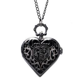 Reloj de cadena del corazón online-Collar de reloj de bolsillo de cuarzo negro de la forma del corazón para las mujeres de las señoras amigo de las señoras colgante reloj de cadena reloj de reloj de moda regalos