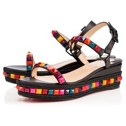 Wholesale Top Fashion Front Open - Top Quality Spring Summer Ladies Red Bottom Women Wedge Shoes Cataclou Sandals Luxury Brand Outdoor Gladiator Sandals Fashion Flats