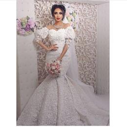 Sereia Vestidos De Casamento árabes 2019 Rendas Elegantes Manga Flare Marfim Vestidos De Noiva Vestido De Novia de