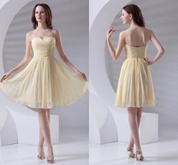 2019 vestidos de dama de honor amarillos cortos Amarillo Simple Barato Barato Corto Una Línea Vestidos de dama de honor Vestidos de gasa Novia formal de honor Vestidos de boda Vestidos de invitados ZPT408 vestidos de dama de honor amarillos cortos baratos