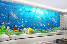 Wholesale underwater wallpaper murals - 3d room wallpaper cloth custom photo Underwater world dolphin bubble Home decor TV Background wall 3d wall murals wallpaper for walls 3 d