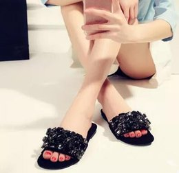 Wholesale B Sexy Photo - Black Slippers Women Flat Shoes Rhinestone Beading Slides Crystal Embellished Sandals Sexy Black Beach Shoes Woman Real Photo flip flop