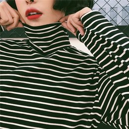 Wholesale Boyfriend Tee Shirt - Autumn Spring Women Striped Turtleneck T-shirts Tops Girls Full Sleeve Boyfriend Style Tees T shirts Clothing for Women JM7286