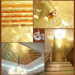 Wholesale Wallpaper Golden - 3D Three dimensional waterproof Gold foil mosaic wallpaper Golden KTV Bar Decorating wallpaper