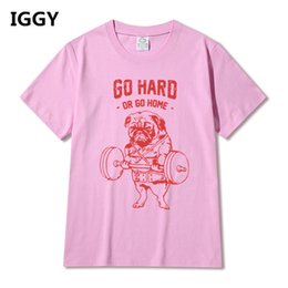 Wholesale pug print - Hot Sale Fashion Pug Squat Exercise Hard Design Mne's Creative Printed T-shirt Short Sleeve Male Funny Tops Hipster Casual Tee