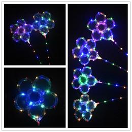 Flashing led balloon lights new en Ligne-Plum Blossom Lumineux LED Flash Light Ballon avec Poignée Bâton 3m String Allumé Clignotant Bobo Ball Festival Fête De Mariage Decora new