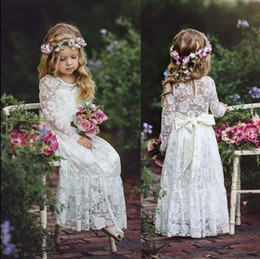 Wholesale Teens Cheap Long Dresses - 2018 Cute Country Cheap Full Lace Flower Girls Dresses Long Sleeves Ritzee Girl Pageant Party Gowns Teens Kids Formal Communion Dresses