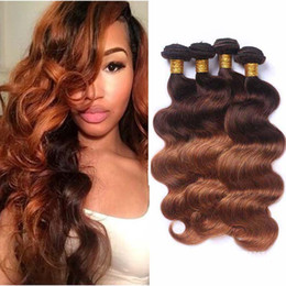 Wholesale two tone hair color styles - Colored Brazilian Ombre Human Hair Weave Fashion Style 4 30 Body Wave Human Hair 4 Bundles Two Tone Blonde Virgin Hair Extensions