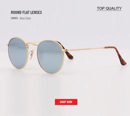 8450cbe52c35d Os mais recentes de alta qualidade Das Mulheres Dos Homens de flash redondo  lente plana óculos de Sol reflexivo Espelhado Lens Marca Designer melhor  Óculos ...