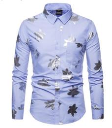 Argentina Comercio al por mayor de comercio exterior nuevo código europeo de los hombres de moda de estampado en caliente de manga larga de plata camisa de solapa A09 Suministro