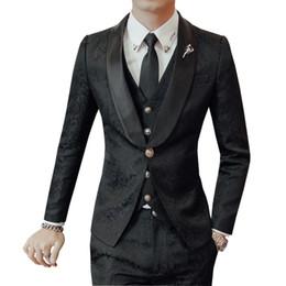 Piezas de esmoquin masculino diseños online-2018 de gama alta Jacquard trajes para hombre rojo azul trajes de impresión floral set 3 piezas diseños tamaño asiático para hombre Slim Fit Suit Tuxedos boda