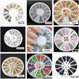 Rodas quentes arte on-line-Atacado Hot 9 Estilos Nail Art Tips Decoração De Cristal Glitter A B Rhinestone Prego Ferramentas Com Roda NA153