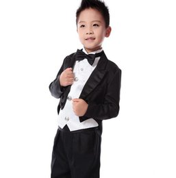 Wholesale Toddlers Wedding Suits - 2018 Black Tailcoat boys wedding suits Prince baby boy suits for wedding Toddler tuxedos men suits(Jacket+vest+pant)