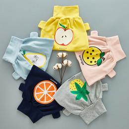 12 meses ropa de marcas para niños Rebajas Pantalones de bebé para niños 2018 Otoño Bebé Pantalones lindos 5 Estilos Fruta impresa Algodón Pantalones cruzados Pantalones de moda para niños