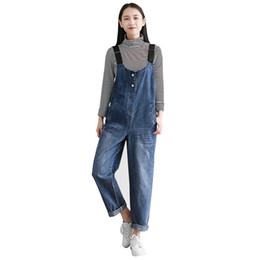 Wholesale High Waist Overalls - 2018 Classic Autumn Spring Jeans pant for women Casual High waist women Preppy Style pant Size S-2XL Blue color