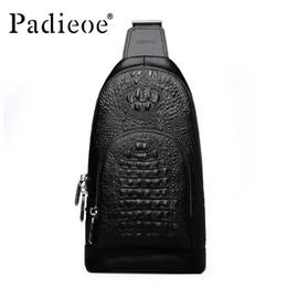 Wholesale Crocodile Hobo Bag - Wholesale- Padieoe new arrival mens messenger bags famous brand crocodile grain genuine leather chest bag business men shoulder bag