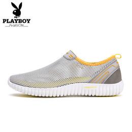 Wholesale playboy fashion - PLAYBOY Band 2017 Mens Shoes Mesh Flats Fashion Men Slip-On Casual Shoes Desert Sapatos Summer Breathable Light Shoes DA73073
