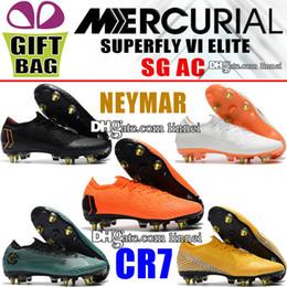 Calcetines de fútbol negro anaranjado online-Botas de fútbol CR7 bajas Cristiano Ronaldo Mercurial Superfly VI SG ACC Botas de fútbol Neymar JR Calcetines Botines de fútbol Blanco Naranja Amarillo Negro