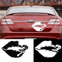 Etiquetas vermelhas dos bordos on-line-Carro-styling New Red Lip Crânio Personalidade Etiqueta Do Carro Esqueleto Reflexivo Etiqueta Do Carro