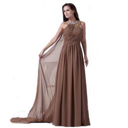 vestidos mnm couture Desconto 2018 Eren Jossie Halter Neck Brown Chiffon vestido de noite longo frisado plissado vestido estilo europeu-americano
