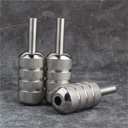 Wholesale Steel Grips - YILONG High Quality Tattoo Grips 25mm Silver Knurled Stainless Steel Tattoo Machine Grip Tube Supply Tattoo & Body Art