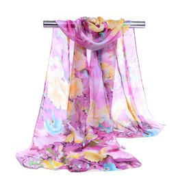 Écharpes de pivoine en Ligne-écharpe en georgette en mousseline de soie printemps et en été châle femmes minces fleurs longues pivoine feuilles modèle foulards