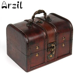 Wholesale wooden box lock wholesale - Vintage Jewelry Storage Box Metal Lock Wooden Organizer Case Wood Boxes Antique Retro Jewellery Candy Container Cases