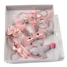 Wholesale children s hair bands - LOEEL 10Pcs S New Girls Hair Accessories Gift Boxed Handmade Rabbit Flowers Headbands Children Ribbon Bow Crown Hair Bands Set