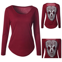 Wholesale Skull Back Top - New Autumn Back Style Skull Print T-shirt Women 3D shirt Funny tshirts long Sleeve Casual shirt Plus Size Tops CL387