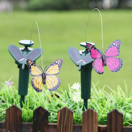 Luci solari a farfalla alimentate a energia solare online-Energia solare Ballando Luci volanti Farfalle Design Hummingbird Birds Garden Yard Decorations Lampada Kids Fun Toys 9ll ZZ