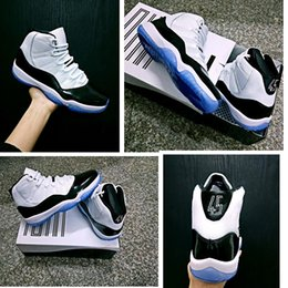 Wholesale Leather Nylon Heels - With Slide Box 2018 XI 11S Concord Mens basketball shoes NO.45 Back Heel White Black 11 Sneaker Men Trainer Tennis Shoes