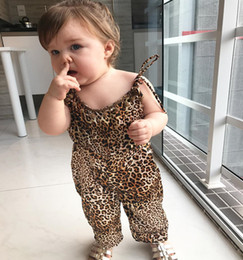 Wholesale Leopard Print Newborn Baby Clothes - Ins 2018 New arrived leopard print Fashion Girls Baby Jumpsuit Infant suspender pant Newborn One Piece Clothing Girls Baby Clothes A1528