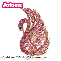 Wholesale Safety Pins Rhinestones - 5pcs lot Custom Safety pins For Women Wedding Elegant Swan Bird With Purple crystal Bridal Brooch Pin
